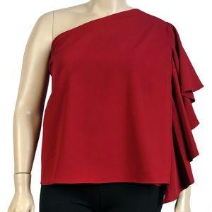 Eloquii One Shoulder Ruffle Sleeve Top